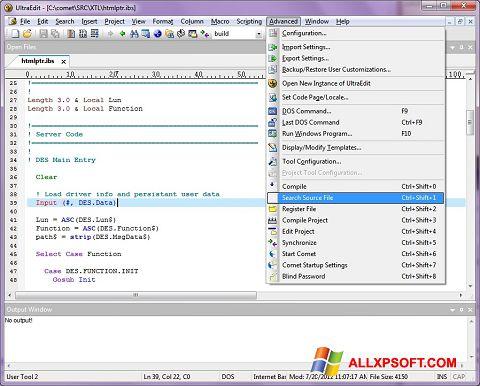 Captura de pantalla UltraEdit para Windows XP
