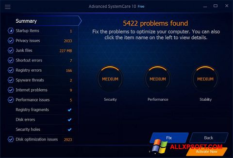 Captura de pantalla Advanced SystemCare Free para Windows XP