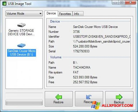 Captura de pantalla USB Image Tool para Windows XP