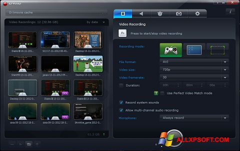 Captura de pantalla Action! para Windows XP
