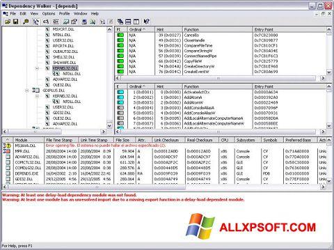 Captura de pantalla Dependency Walker para Windows XP