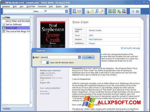 Captura de pantalla All My Books para Windows XP