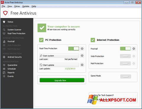 Captura de pantalla Avira Free Antivirus para Windows XP