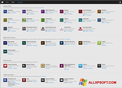 Captura de pantalla Adobe Creative Cloud para Windows XP