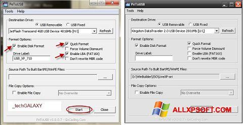 Captura de pantalla PeToUSB para Windows XP