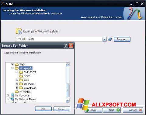 Captura de pantalla nLite para Windows XP