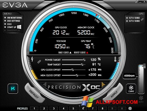 Captura de pantalla EVGA Precision para Windows XP