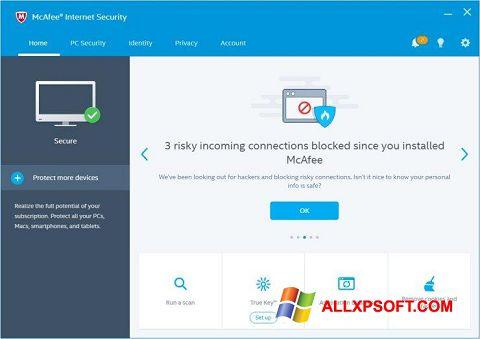 Captura de pantalla McAfee Internet Security para Windows XP