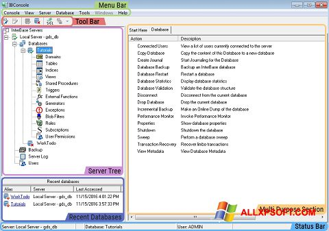 Captura de pantalla InterBase para Windows XP