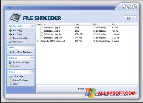 Captura de pantalla File Shredder para Windows XP