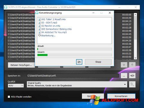 Captura de pantalla Free Audio Converter para Windows XP