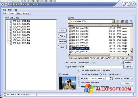 Captura de pantalla FastStone Photo Resizer para Windows XP