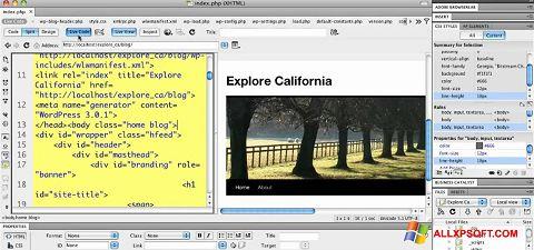 Captura de pantalla Adobe Dreamweaver para Windows XP