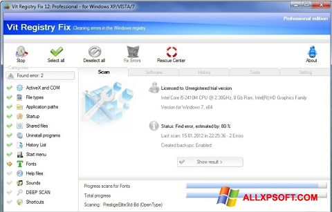 Captura de pantalla Vit Registry Fix para Windows XP