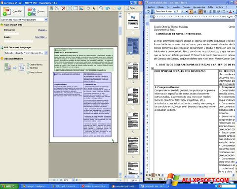 Captura de pantalla ABBYY PDF Transformer para Windows XP