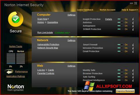Captura de pantalla Norton Internet Security para Windows XP
