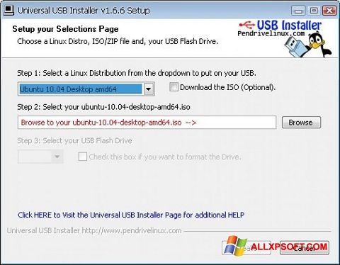 Captura de pantalla Universal USB Installer para Windows XP