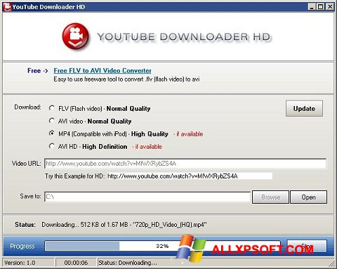 Captura de pantalla Youtube Downloader HD para Windows XP