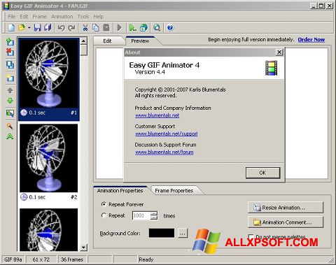 Captura de pantalla Easy GIF Animator para Windows XP