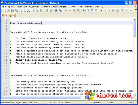 Captura de pantalla Notepad++ para Windows XP