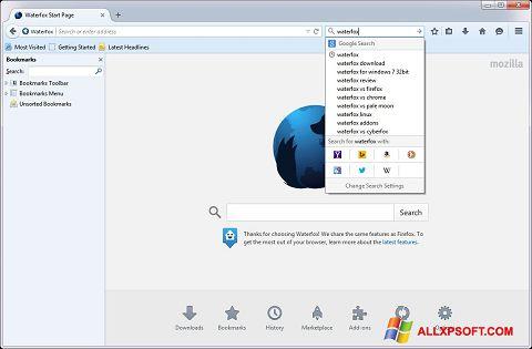 Captura de pantalla Waterfox para Windows XP