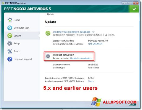 Captura de pantalla ESET NOD32 para Windows XP