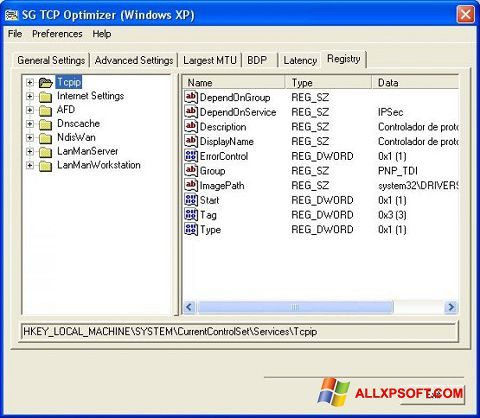 Captura de pantalla TCP Optimizer para Windows XP