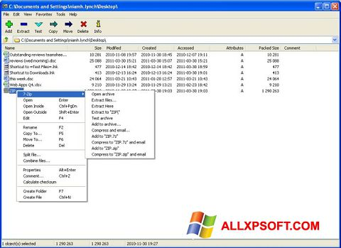 Captura de pantalla 7-Zip para Windows XP