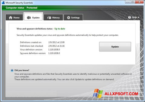 Captura de pantalla Microsoft Security Essentials para Windows XP